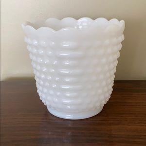 Vintage milk glass vase. Oven Fire King Ware14